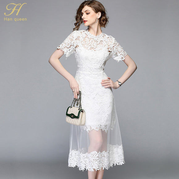 H han queen Summer Mesh Patchwork Lace Dress Women O-neck Work Casual Party Slim Sexy White Long Dresses Vintage Vestidos