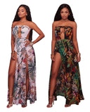 Floral Print Split Long Elegant Sexy Strapless Beach Summer Dress
