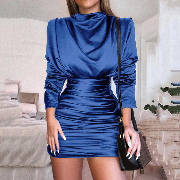 Vintage Long Sleeve Satin Ruched Bodycon Mini Dress