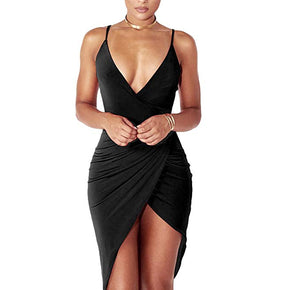 Sexy Deep V Neck Backless Slit Mini Dress