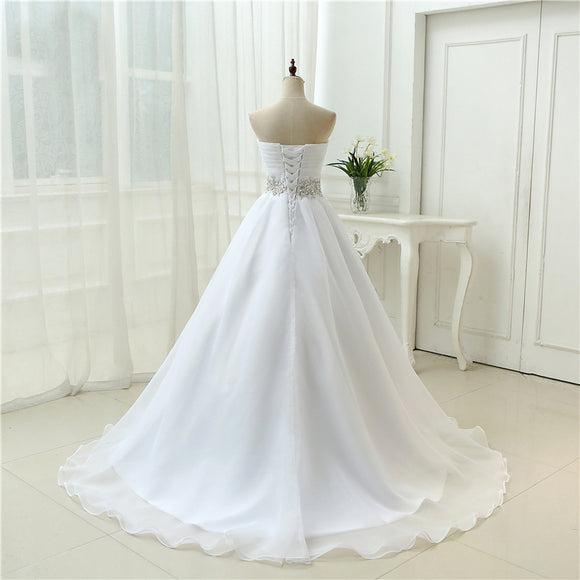White Vestido De Noiva  Design A line Perfect Belt Robe De Mariage Strapless Lace Up Wedding Dresses