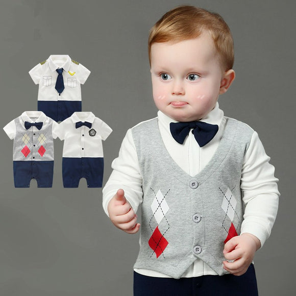 Baby Boy Rompers 100% Cotton Tie Gentleman Suit Bow Leisure Body Suit Clothing Infant Jumpsuit Toddler Boys Clothes