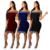 Off Shoulder Long Sleeve Slim Elastic Bodycon  Dress