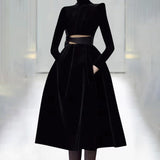 Evening Turtleneck Long Sleeve Bowknot Hollow Out Party Dress