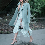 Long sleeve Chiffon Asymmetric Romantic Midi Dress