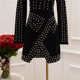 Fall Winter Runway Dress Women's Long Sleeve Metal Beaded Rivet Bodycon Dress
