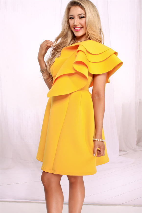 One Shoulder Cascading Ruffle Mini Party Dresses Scuba Solid Yellow Women Autumn Winter Fashion Casual Dresses