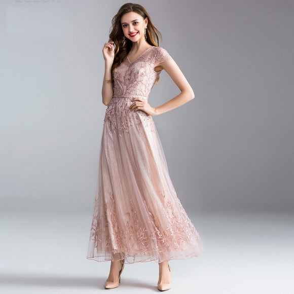Luxury Women Party/Bridesmaids V-Neck Beading Lace Embroidery Dress