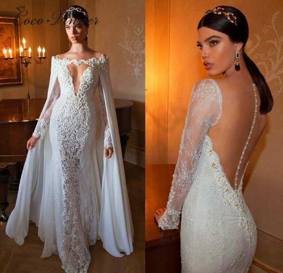 C.V Vintage Mermaid Wedding Dress with Long Wrab Embroidery Beading Custom Made Illusion Lace Mermaid Wedding Dress