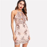 Split Front Sequin Racer Sleeveless Halter Bodycon Dress