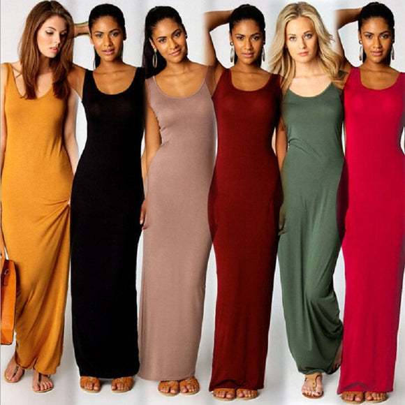 Elegant Women Sexy Dress O-Neck Sleeveless Slim Maxi Dress High Stretch Tank Robe Spring Summer Thin Long Dress Vestidos