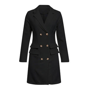 Elegant Double Breasted Women Blazer Mini Dress