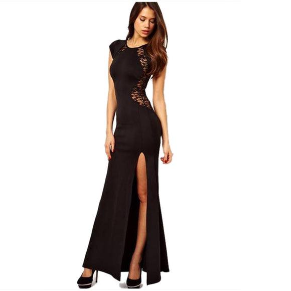 Transparent Lace Split Dress Elegant Sleeveless Slim Maxi Dress