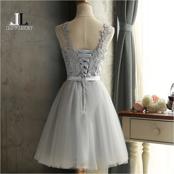Short Backless Lace Up Prom/Bridesmaids Formal Dress