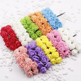 12 pcs Mini Foam Rose Artificial Flowers For Home Wedding Car Decoration DIY Pompom Wreath Decorative Bridal Flower Fake Flower