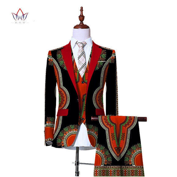 Men Three Piece Slim Fit African Print Suit