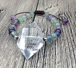 Natural Clear Quartz Double Point | Fluorite Beads Adjustable 6.5 inch long
