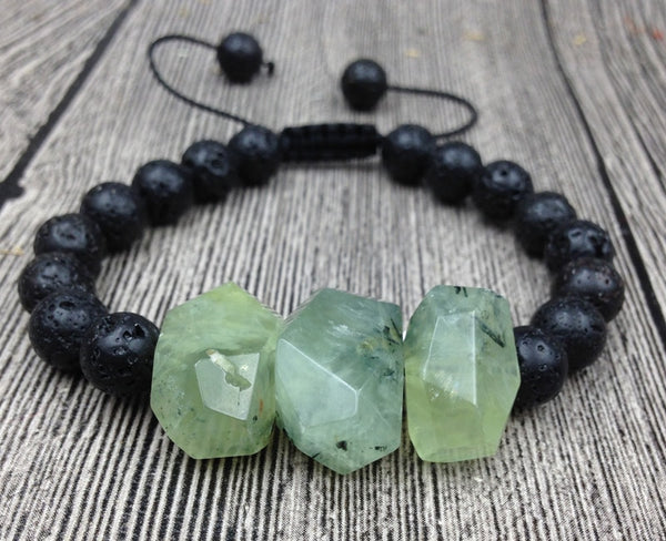 Natural Prehnite Faceted Chunky Stones | Black Lava Beads | Knot Adjustable Bracelet