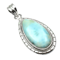 Natural Larimar Pendant 925 Sterling Silver, 46mm