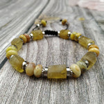 Citrine with Crazy Lace Agates Stone Beads | Cord Knotted | Adjustable Bracelet