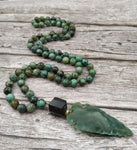 Arrow Jasper Stone |  Black Aerolite | African Turquoise Beads | Handmade Knot Necklaces