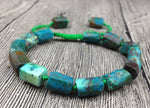 Turquoise color Chrysocolla Stones | Cord Knotted | Adjustable Bracelet