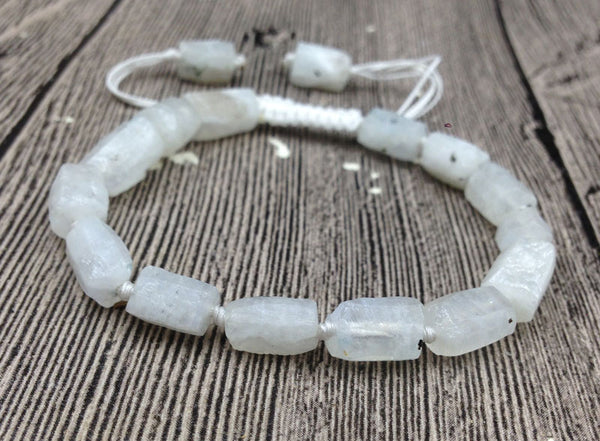 Natural Rough Moonstone beads | Stone Cord Knotted | Adjustable Bracelet
