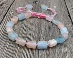 Natural Morganite Stones | Cord Knotted Adjustable Bracelet