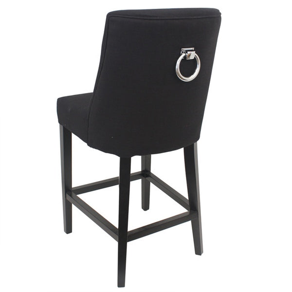 East Hampton Barstool Black with Chrome Ring
