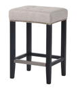 Canyon Oak Kitchen Stool - Black Frame w Natural Linen
