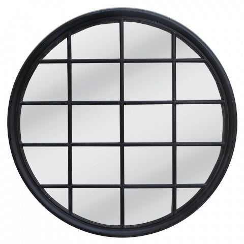 Hamptons Round Mirror Black