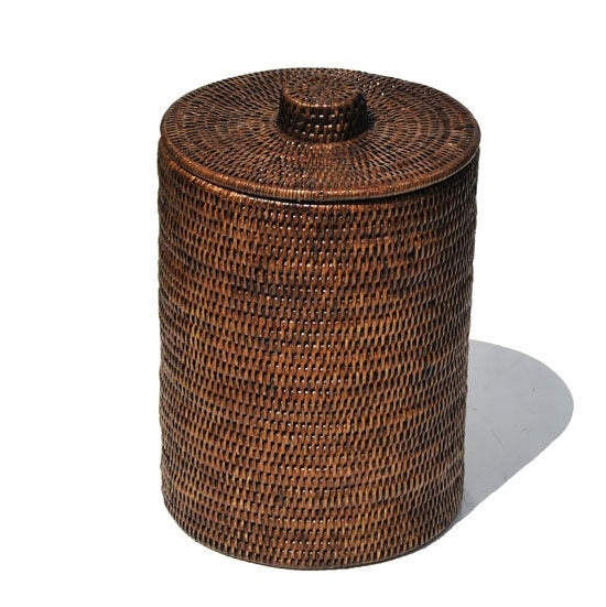 Bathroom Bin with Liner Antique Brown