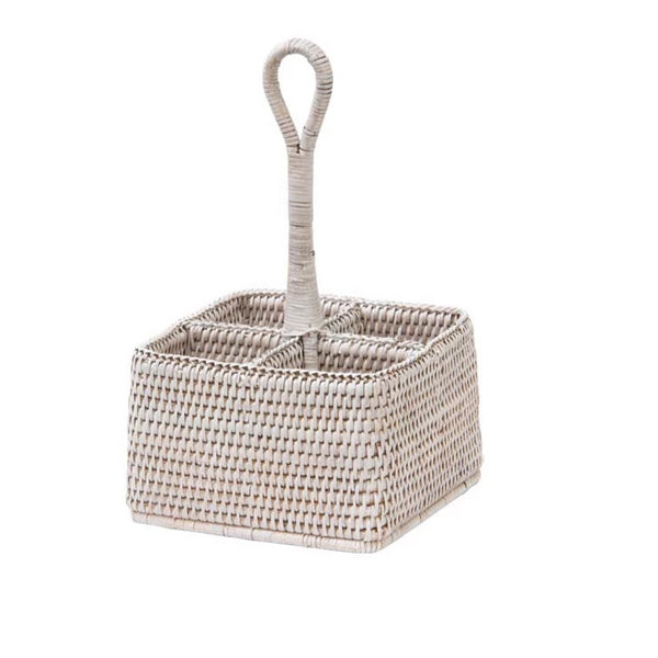 Cutlery Holder Rattan Whitewash