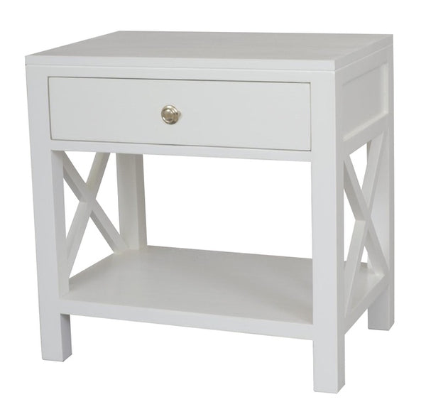 Catalina Crossed White Bedside Table