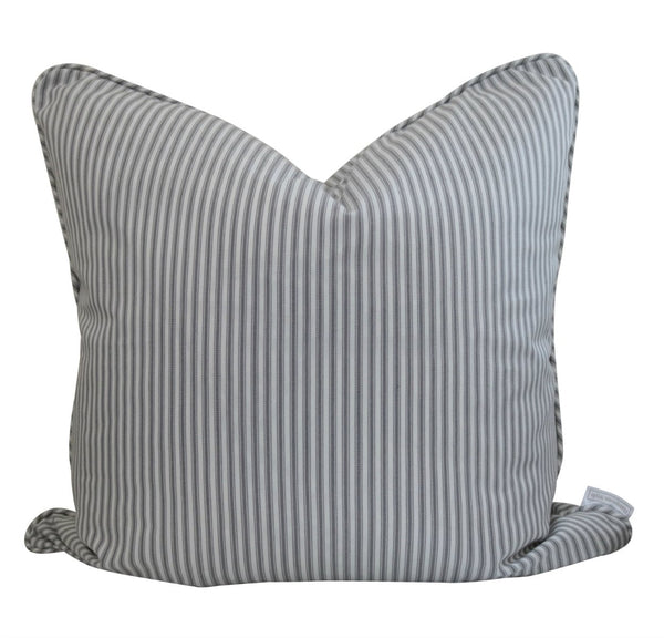 Silver/Grey Classic Ticking Stripe Cushion