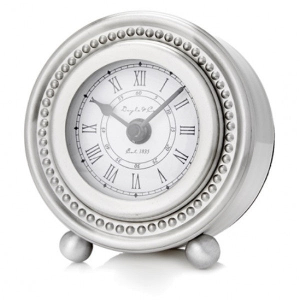 Pewter Look Round Beaded Clock