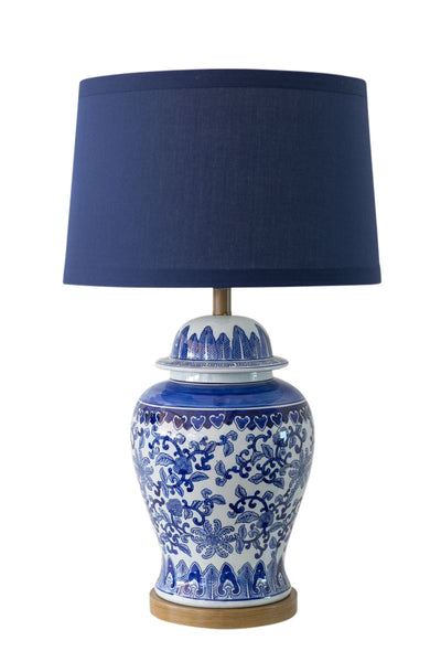 Lotus Lamp with Navy Shade