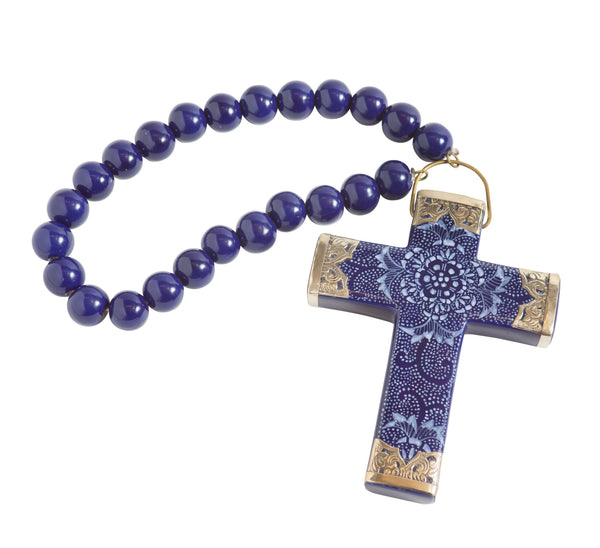Brookhaven Ceramic Cross with Beads