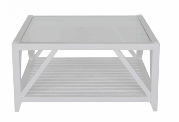 Benedict Glass Top Coffee Table White Square