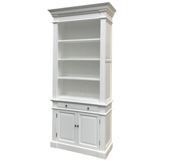 French Library One Bay Bookcase White (No Ladder)