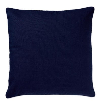Basic Navy Cushion with white piping 50cm