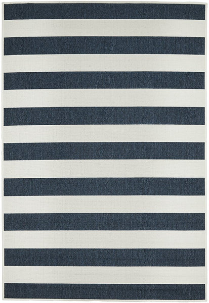 Harbour Navy Stripe Outdoor Rug