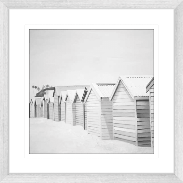 Beach Huts Black & White