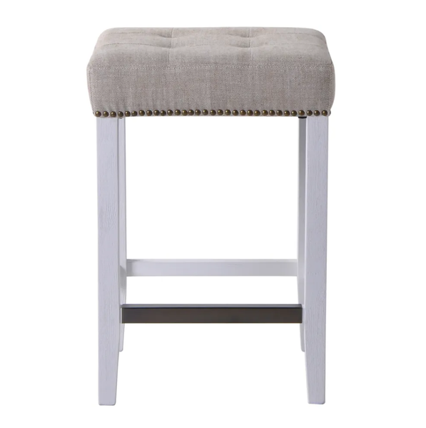Canyon Oak Kitchen Stool - White Frame w Natural Linen