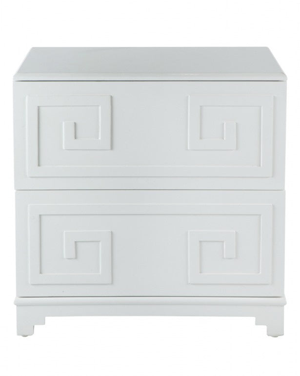 Greek Key Bedside White