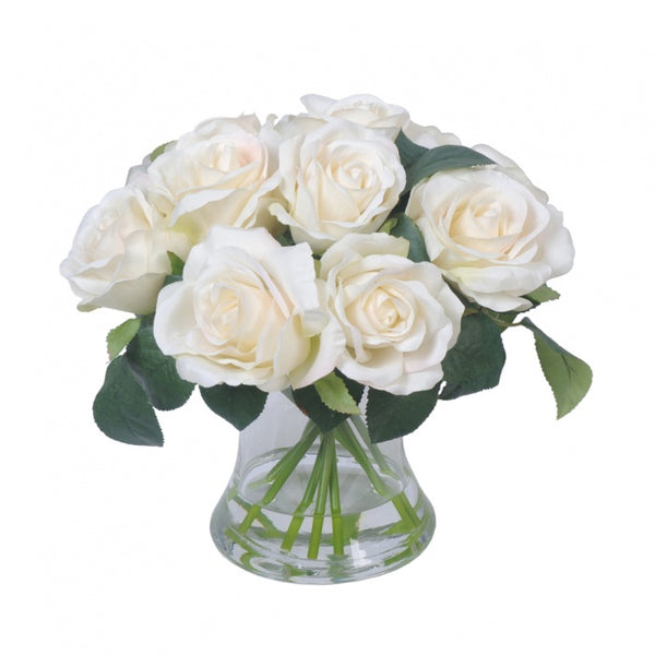 Rose in Glass Vase White