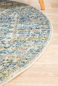 Paige Silver/Blue Round Rug