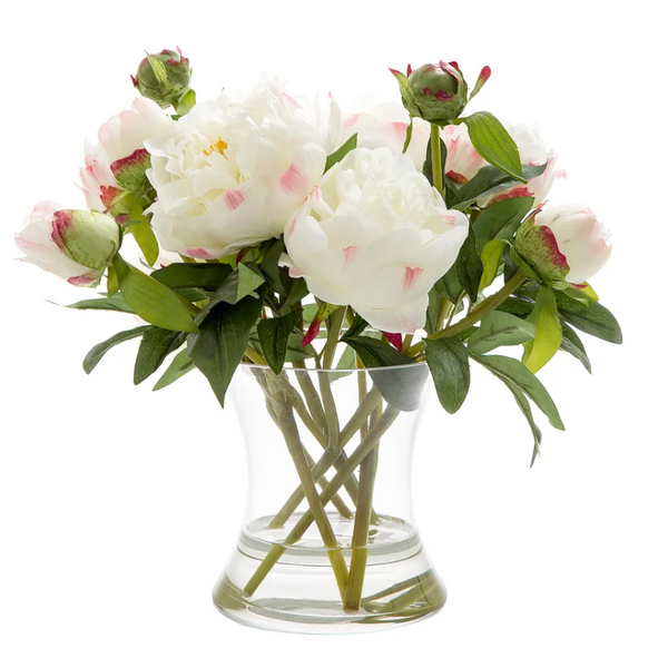 Peony White in Glass Vase