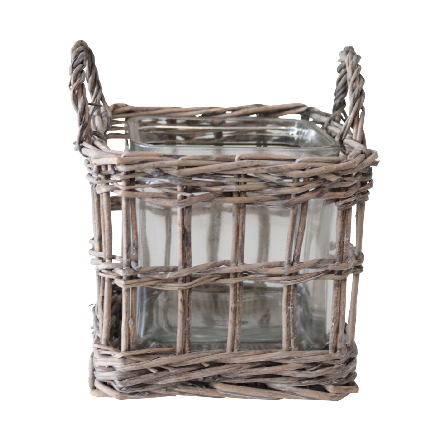 Rattan Basket with Glass 17cm
