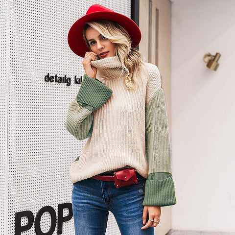 Mariah Patchwork Turtleneck Sweater